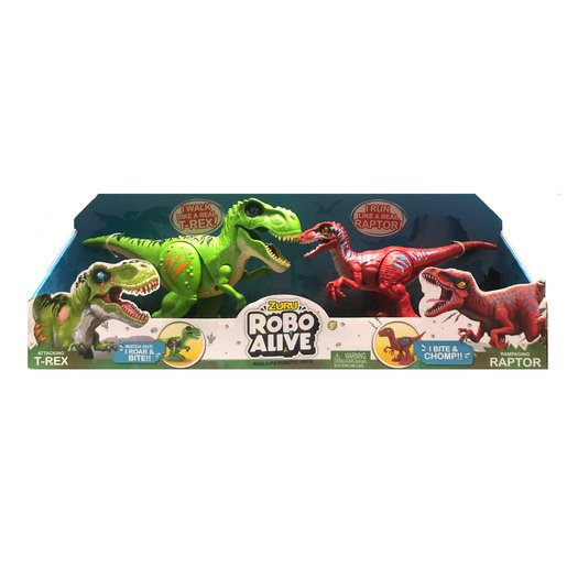 Robo Alive Dinosaurs - Green T-Rex And Red Raptor