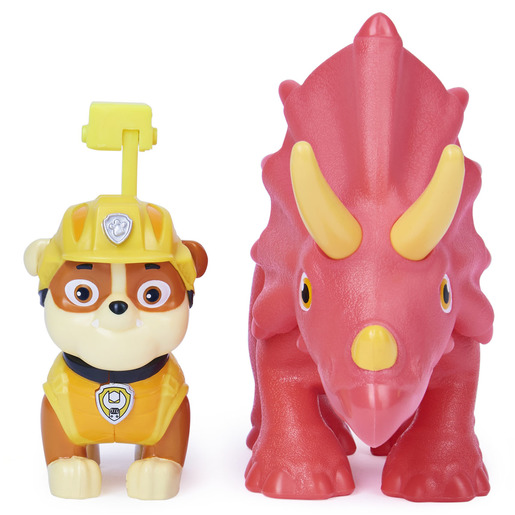 Paw Patrol Dino Rescue Figures and Mystery Dinosaur - Rubble and Triceratops