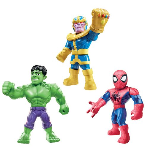 """Playskool Super Hero Adventures Mighties 3 Figures - Hulk, Thanos and Spider-Man"""