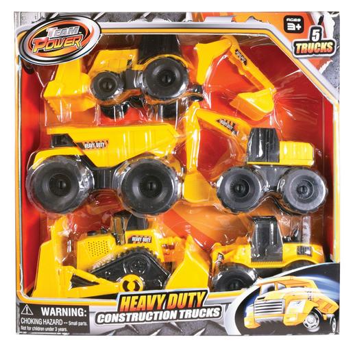 Team Power 16cm Construction Trucks - 5 Pack
