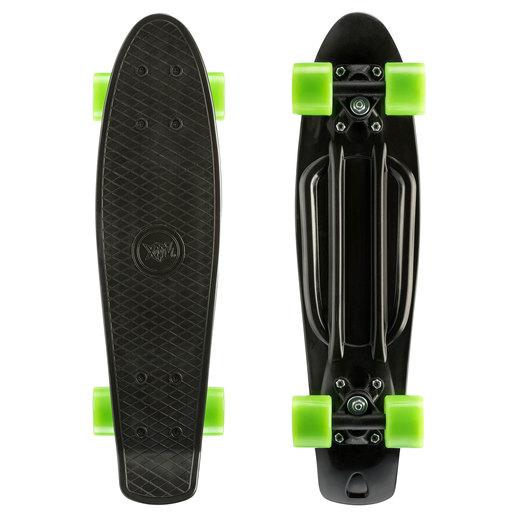 Xootz Kids Retro Plastic Complete Cruiser Skateboard with LED wheels - Black