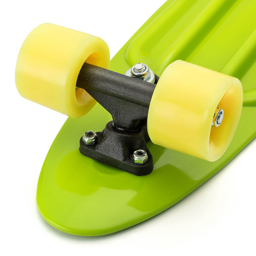 Xootz Kids Retro Plastic Complete Cruiser Skateboard with LED wheels - Green
