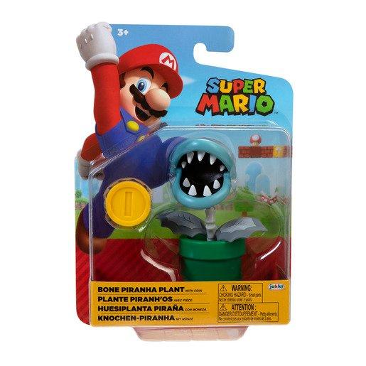 Super Mario 4' Figure - Bone Piranha Plant with Coin