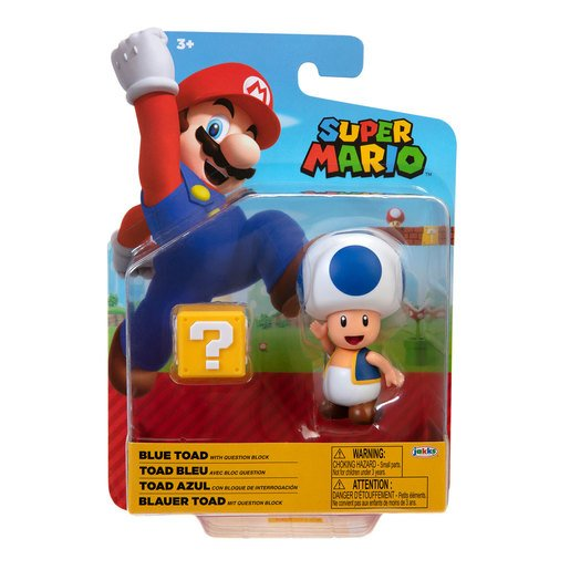 Super Mario 4' Figure - Blue Toad with Question Block
