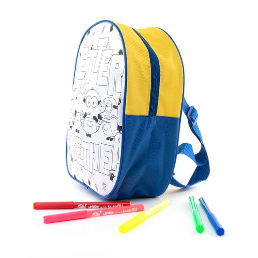 Minions Colour Your Own Backpack Set