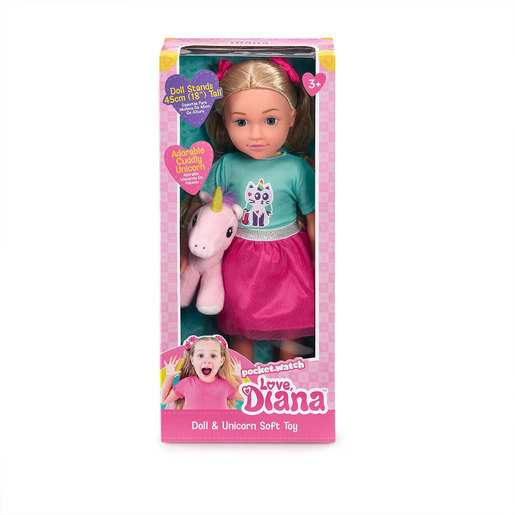 Love Diana Doll and Unicorn Soft Toy