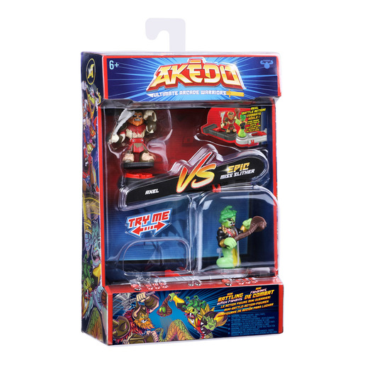 Akedo Ultimate Arcade Warriors 2pk - Axel Vs Epic Miss Slither 3.5' Action Figures