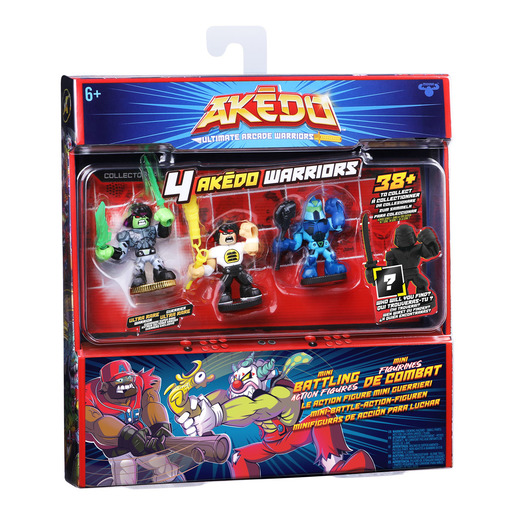 """Akedo Ultimate Arcade Warrior Collectors 4pk - Glitchblade, Chux Lee & Hyperlock 3.5' Action Figures"""